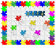 10 Jigsaw drop-down puzzle  2014 -Your text Royalty Free Stock Photos