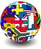 Jigsaw flag globe Royalty Free Stock Photos