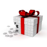 Jigsaw gift_white Stock Images