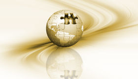 Jigsaw globe. 3D render of a jigsaw globe on an abstract background Royalty Free Stock Photography