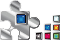 Jigsaw glossy web buttons. Jigsaw glossy square web buttons in different colors Stock Images