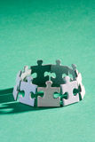 Jigsaw group green. A group of small upright jigsaw puzzle pieces Royalty Free Stock Photos