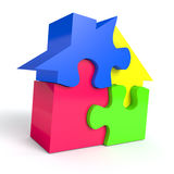Jigsaw House. Jigsaw puzzle in the shape of a house on white background. Computer generated image with clipping path Royalty Free Stock Photography