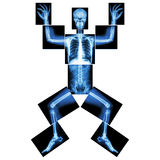Jigsaw human x-ray ( whole body : head skull face neck spine shoulder arm elbow joint forearm wrist hand finger chest thorax heart royalty free illustration
