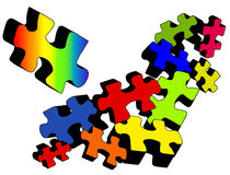Jigsaw Jumble. Illustration of brightly colored jigsaw puzzle pieces with one quite different from the rest.  Concept showing uniqueness, difference and wanting Stock Image
