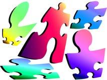 Jigsaw men. Colourful jigsaw men vector illustration