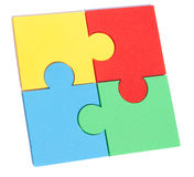 Jigsaw metaphor mixed. Metaphor jigsaw isolated on white patterns pieces Royalty Free Stock Photography