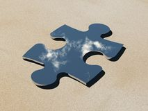 Jigsaw Mirror. 3d render of a puzzle piece shaped mirror in the desert Stock Photos