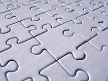 Jigsaw pattern. Blue jigsaw background stock photo