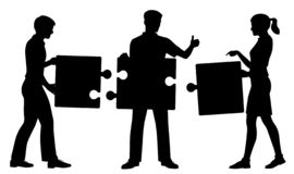 Jigsaw people silhouette. Editable vector silhouette of three people successfully putting together a simple jigsaw puzzle with figures and pieces as separate vector illustration