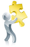 Jigsaw piece mascot. Illustration of a silver mascot man holding a big jigsaw piece Royalty Free Stock Image