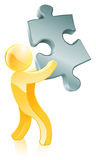 Jigsaw piece person Stock Photos