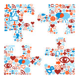 Jigsaw piece shape with media icons texture. Social media icons set in puzzle shape composition Royalty Free Stock Photography