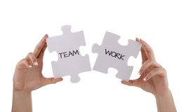 Jigsaw piece teamwork stock image
