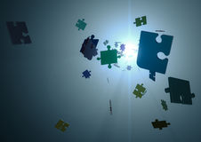 Jigsaw pieces. Render of flying jigsaw pieces Royalty Free Stock Image