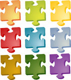 Jigsaw pieces. Set of jigsaw puzzle pieces in different colors Royalty Free Stock Images