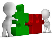 Jigsaw Pieces Being Joined Showing Teamwork royalty free illustration