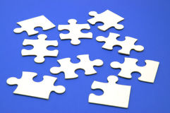 Jigsaw pieces blue Stock Images