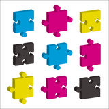 Jigsaw pieces cmky Stock Images