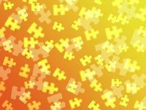 Jigsaw pieces on an orange gradient Stock Photos