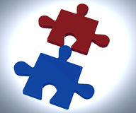 Jigsaw Pieces Shows Teamwork Concept royalty free illustration