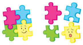 Jigsaw pieces together and apart. Illustration Royalty Free Stock Photography