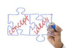 Jigsaw Pieces written Concept Ideas are drawn on board Stock Image