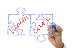Jigsaw Pieces written Health Care are drawn on board Royalty Free Stock Photography