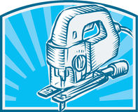 Jigsaw Power Tool Woodcut Retro Royalty Free Stock Photos