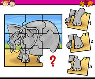 Jigsaw preschool cartoon game. Cartoon Illustration of Jigsaw Puzzle Education Game for Preschool Children with Elephant Royalty Free Stock Photo