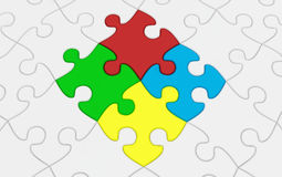 Jigsaw puzzle. 3d render of Beautiful Jigsaw puzzle Stock Photography