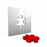 Jigsaw puzzle. 3D computer illustration isolated on white background Royalty Free Stock Photos