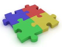 Jigsaw Puzzle. Similar jigsaw puzzle, teamwork. 3D render Stock Photography