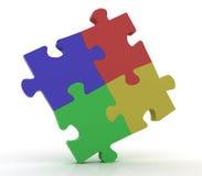 Jigsaw Puzzle. Similar jigsaw puzzle, teamwork. 3D render Stock Images