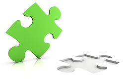 Jigsaw puzzle. 3d illustration of a green jigsaw puzzle - isolated on white - solution concept royalty free illustration