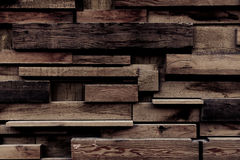 Jigsaw Puzzle. A wall in the Distillery District is made up of pieces of wood that slot together to create a neat 3D and jigsaw effect Royalty Free Stock Photo
