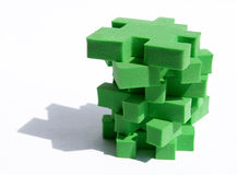 Jigsaw puzzle. With green pieces, tower Royalty Free Stock Photo