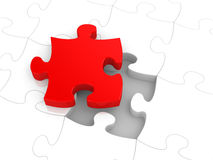 Jigsaw puzzle. Concept with red piece royalty free illustration