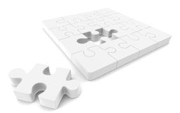 Jigsaw Puzzle. White with copy space Royalty Free Stock Images