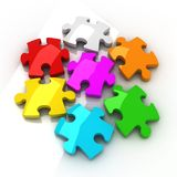 Jigsaw Puzzle. On white background with shadow vector illustration
