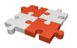 Jigsaw puzzle. Four connected jigsaw puzzle pieces Stock Image