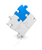 Jigsaw puzzle. One puzzle completed with a piece of different color (3d render vector illustration