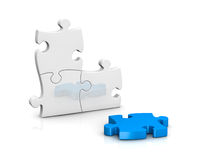 Jigsaw puzzle. One puzzle with the last piece to complete (3d render royalty free illustration