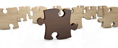 Jigsaw puzzle. Several pieces of a puzzle with the one in front, in different color (3d render vector illustration