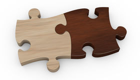 Jigsaw puzzle. Two puzzle pieces in different color. the pieces are joined together (3d render vector illustration