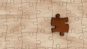 Jigsaw puzzle. One wooden puzzle with one piece in different color (3d render royalty free illustration