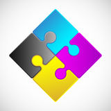 Jigsaw Puzzle. 4 Piece Jigsaw Puzzle (each piece is an editable blend vector illustration
