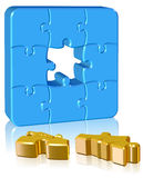 Jigsaw Puzzle. Three dimension style and high quality image Stock Photography