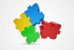 Jigsaw Puzzle. 3d rendered Jigsaw Puzzle on a light grey background Stock Photo