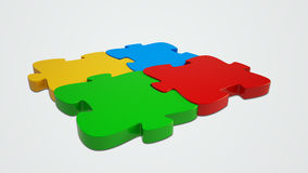 Jigsaw Puzzle. 3d rendered Jigsaw Puzzle on a light grey background Royalty Free Stock Images